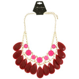 Adjustable Length Statement-Necklace With Faceted Accents Pink & Red Colored #2505