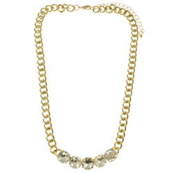 Adjustable Length Collar-Necklace With Crystal Accents  Gold-Tone Color #2508 - Mi Amore