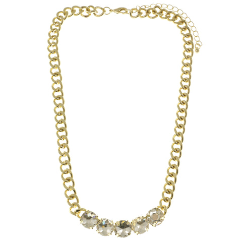 Adjustable Length Collar-Necklace With Crystal Accents  Gold-Tone Color #2508