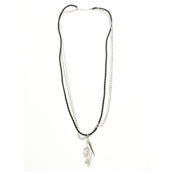 Leaf Spike Layered-Necklace Colorful #2512