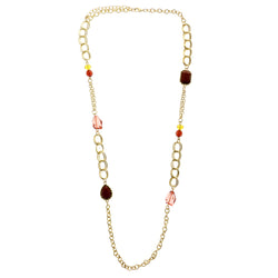Adjustable Length Statement-Necklace With Faceted Accents Gold-Tone & Multi Colored #2513