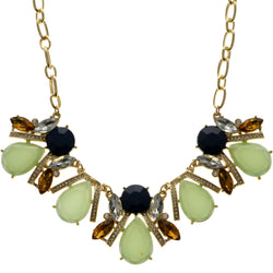 Adjustable Length Statement-Necklace With Faceted Accents Colorful & Gold-Tone Colored #2514