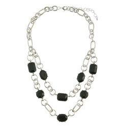 Adjustable Length Necklace With Faceted Accents Silver-Tone & Black Colored #2521