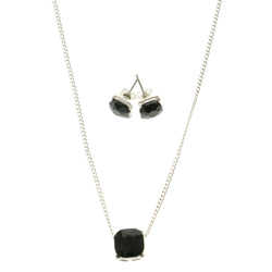 Adjustable Length Pendant With Crystal Accents Black & Silver-Tone Colored #2532