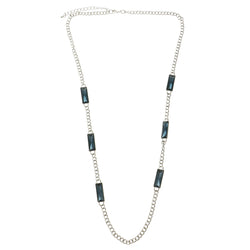 Adjustable Length Long-Necklace With Crystal Accents Silver-Tone & Blue Colored #2536