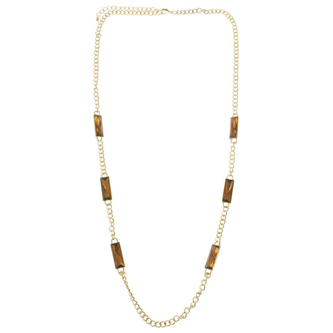 Adjustable Length Long-Necklace With Crystal Accents Gold-Tone & Brown Colored #2538