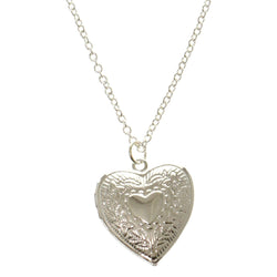 Heart Adjustable Length Pendant-Necklace Silver-Tone Color  #2546