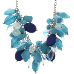 Adjustable Length Statement-Necklace With Bead Accents Blue & Silver-Tone Colored #2548