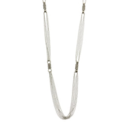 Silver-Tone Metal Long-Necklace With Crystal Accents #2561