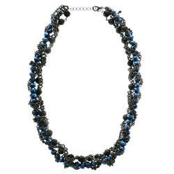 Adjustable Length Statement-Necklace With Bead Accents Black & Blue Colored #2562