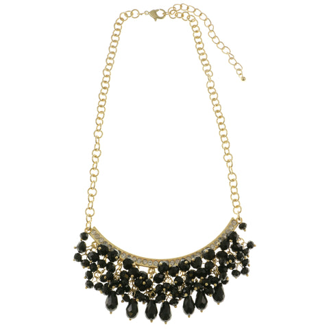 Adjustable Length Bib-Necklace With Crystal Accents Gold-Tone & Black Colored #2563