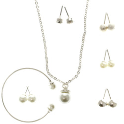 Adjustable Length Pendant-Necklace Jewelry Set With Bead Accents Silver-Tone Color #2566