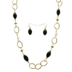 Matching Earrings Long Fashion-Necklace Jewelry Set With Bead Accents Gold-Tone & Black Colored #2567
