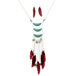 Coins Feathers Matching Earrings Statement-Necklace Jewelry Set With Stone Accents Colorful & Silver-Tone Colored #2572