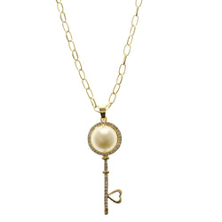 Key Heart Adjustable Length Pendant-Necklace With Crystal Accents Gold-Tone & White Colored #2575
