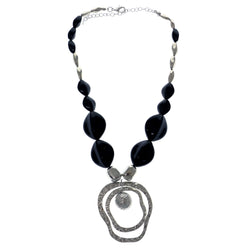 Adjustable Length Statement-Necklace With Bead Accents Black & Silver-Tone Colored #2578