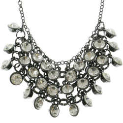 Adjustable Length Statement-Necklace With Crystal Accents  Dark Silver Color #2584 - Mi Amore