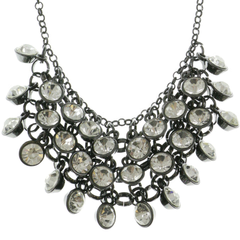 Adjustable Length Statement-Necklace With Crystal Accents  Dark Silver Color #2584