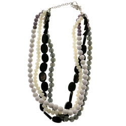 Adjustable Length Layered-Necklace With Bead Accents Colorful & Silver-Tone Colored #2583