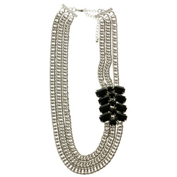 Adjustable Length Statement-Necklace With Faceted Accents Silver-Tone & Black Colored #2585