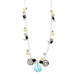 Adjustable Length Statement-Necklace With Bead Accents Silver-Tone & Multi Colored #2586