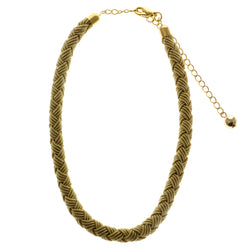 Adjustable Length Braided Cord Choker-Necklace Yellow & Gold-Tone Colored #2593