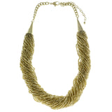 Adjustable Length Statement-Necklace With Bead Accents  Gold-Tone Color #2599