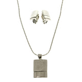Adjustable Length Matching Earrings Pendant-Necklace Jewelry Set Silver-Tone Color  #2604
