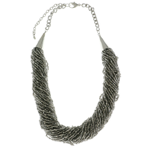 Adjustable Length Necklace With Bead Accents  Silver-Tone Color #2612