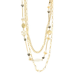 Long Adjustable Length Layered-Necklace  With Colorful Faceted Accents Gold-Tone Color #2616