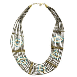 Adjustable Length Statement-Necklace With Bead Accents Colorful & Gold-Tone Colored #2617