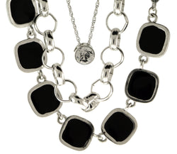 Silver-Tone Layered Statement Necklace With Black Color Accents For Women TMN705