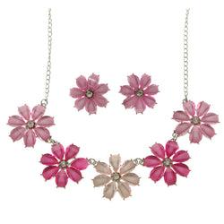 Flowers Adjustable Length Statement-Necklace Jewelry Set With Faceted Accents Pink & Silver-Tone Colored #2621