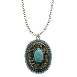 Adjustable Length Pendant-Necklace With Faceted Accents Blue & Silver-Tone Colored #2622
