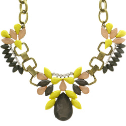 Adjustable Length Statement-Necklace With Faceted Accents Colorful & Gold-Tone Colored #2628