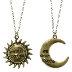 Sun Moon Adjustable Length Pendant-Necklace Set Gold-Tone Color  #2631