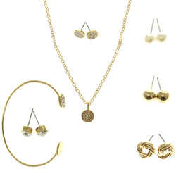 Adjustable Length Pendant-Necklace Jewelry Set With Crystal Accents  Gold-Tone Color #2637
