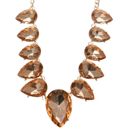 Adjustable Length Statement-Necklace With Faceted Accents Peach & Gold-Tone Colored #2639