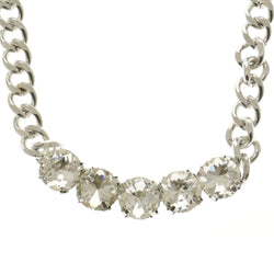 Adjustable Length Statement-Necklace With Crystal Accents  Silver-Tone Color #2640