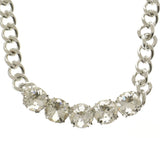 Adjustable Length Statement-Necklace With Crystal Accents  Silver-Tone Color #2640 - Mi Amore