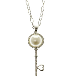 Key Heart Adjustable Length Pendant-Necklace With Crystal Accents Silver-Tone & White Colored #2643