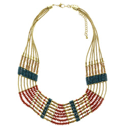 Adjustable Length Statement-Necklace With Bead Accents Colorful & Gold-Tone Colored #2660