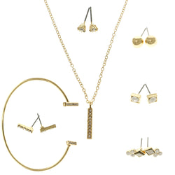 Adjustable Length Pendant-Necklace Jewelry Set With Crystal Accents  Gold-Tone Color #2665