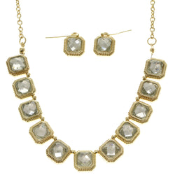 Adjustable Length Matching Earrings Statement-Necklace Jewelry Set With Crystal Accents Gold-Tone Color #2666