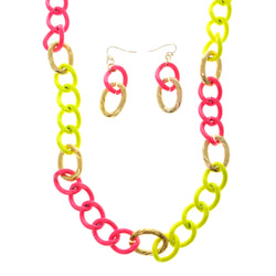 Adjustable Length Matching Earrings Chain Link Statement-Necklace Jewelry Set Neon Pink & Yellow Colored #2668