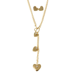 Heart Matching Earrings Y-Necklace Jewelry Set  With Crystal Accents Gold-Tone Color #2674