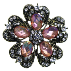 Flower Brooch-Pin With Faceted Accents Gold-Tone & Pink Colored #2314 - Mi Amore