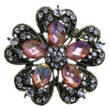 Flower Brooch-Pin With Faceted Accents Gold-Tone & Pink Colored #2314