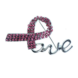 Love Pink ribbon Brooch-Pin With Crystal Accents Silver-Tone & Pink Colored #2321