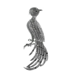 Bird Pheasant Brooch-Pin With Crystal Accents Silver-Tone & Clear Colored #2329 - Mi Amore
